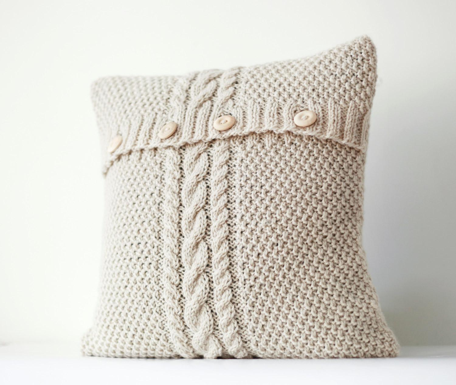Cable Hand Knitted Pillow Cover Ivory Decorative Pillows