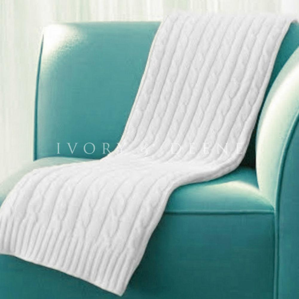 Cable Knit Blanket Luxury Soft Cotton New Couch Bed Large