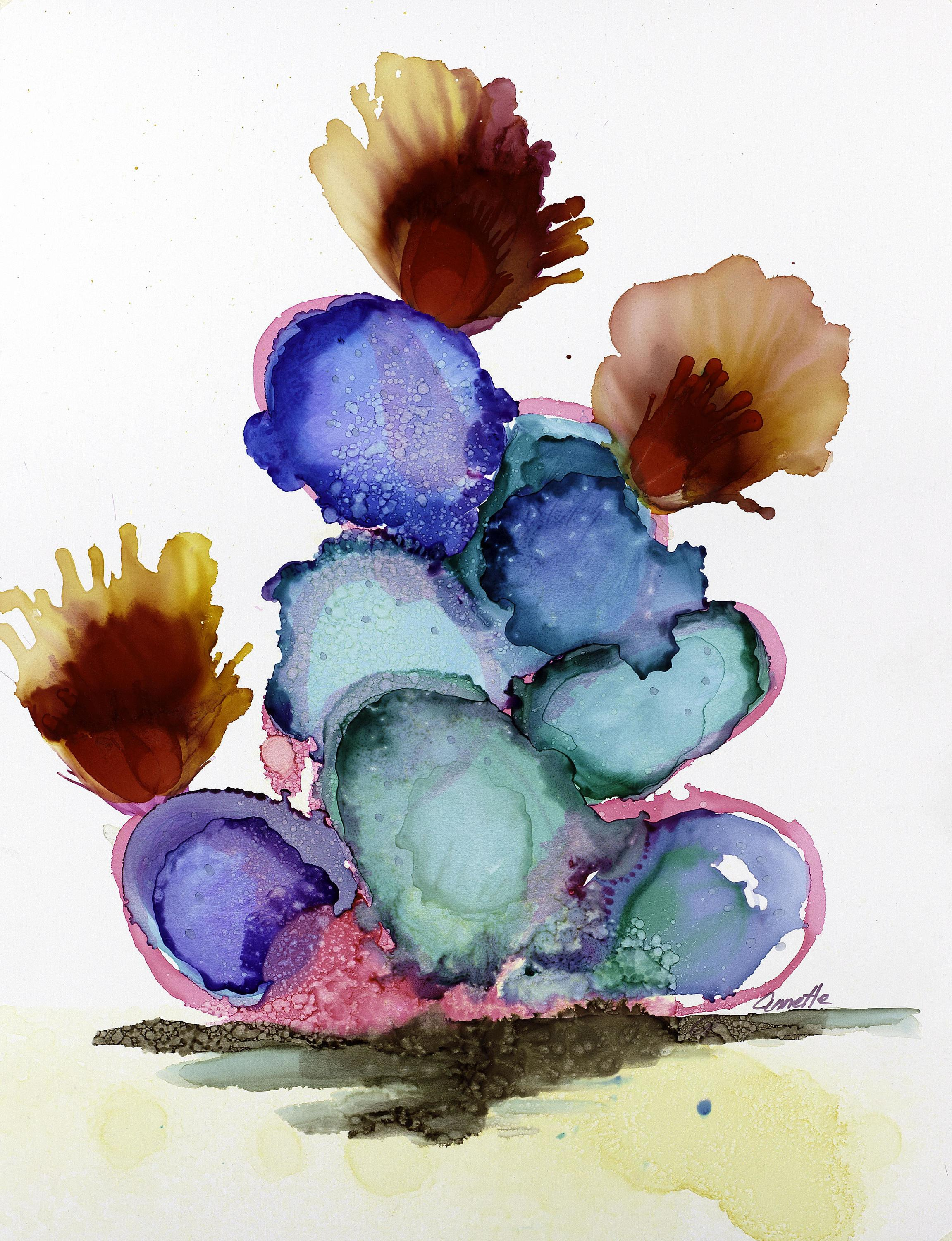 Cactus Alcohol Ink Turquoise Abstract