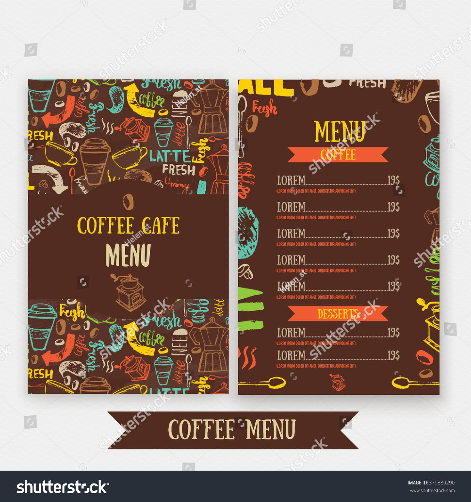 Cafe Menu Template Design Lettering Coffee Stock Vector