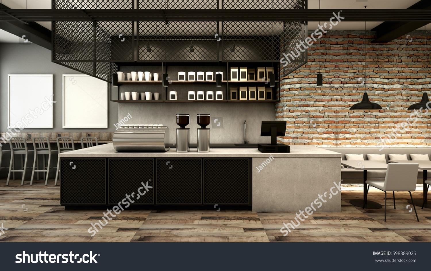 Cafe Shop Restaurant Design Modern Loft Stock Illustration