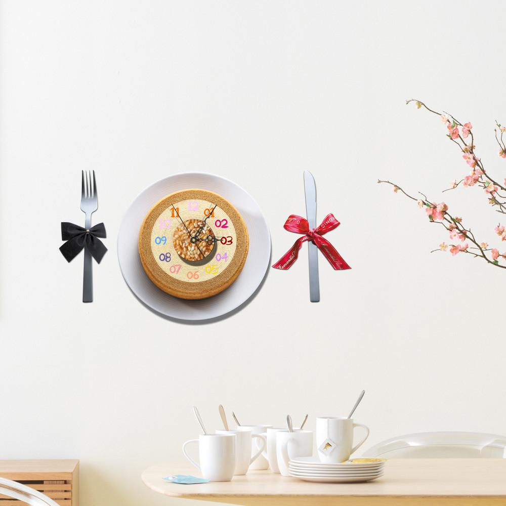 Cake Diy Wall Clock Sticker Modern Design Silent