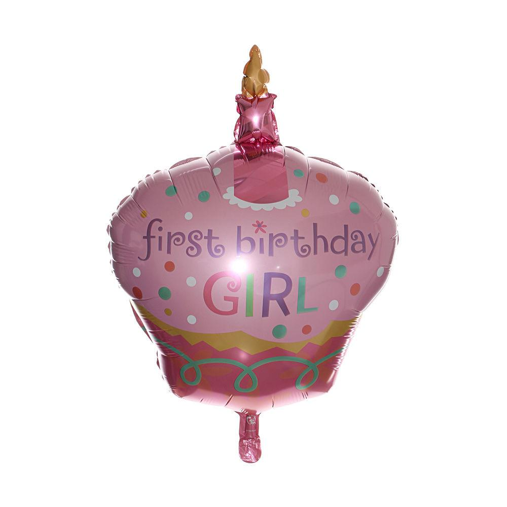 Cake Foil Balloon Party First Birthday Girl 1st Baby