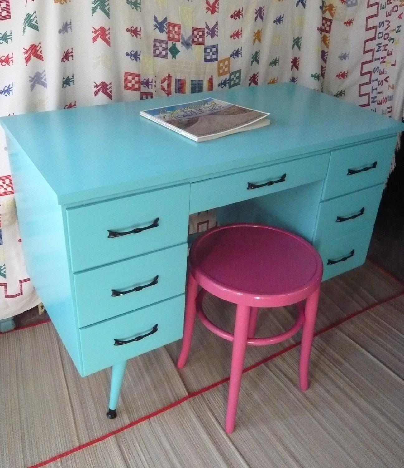 Calypso Retro Desk Vintage Painted Furniture Turquoise Beachy