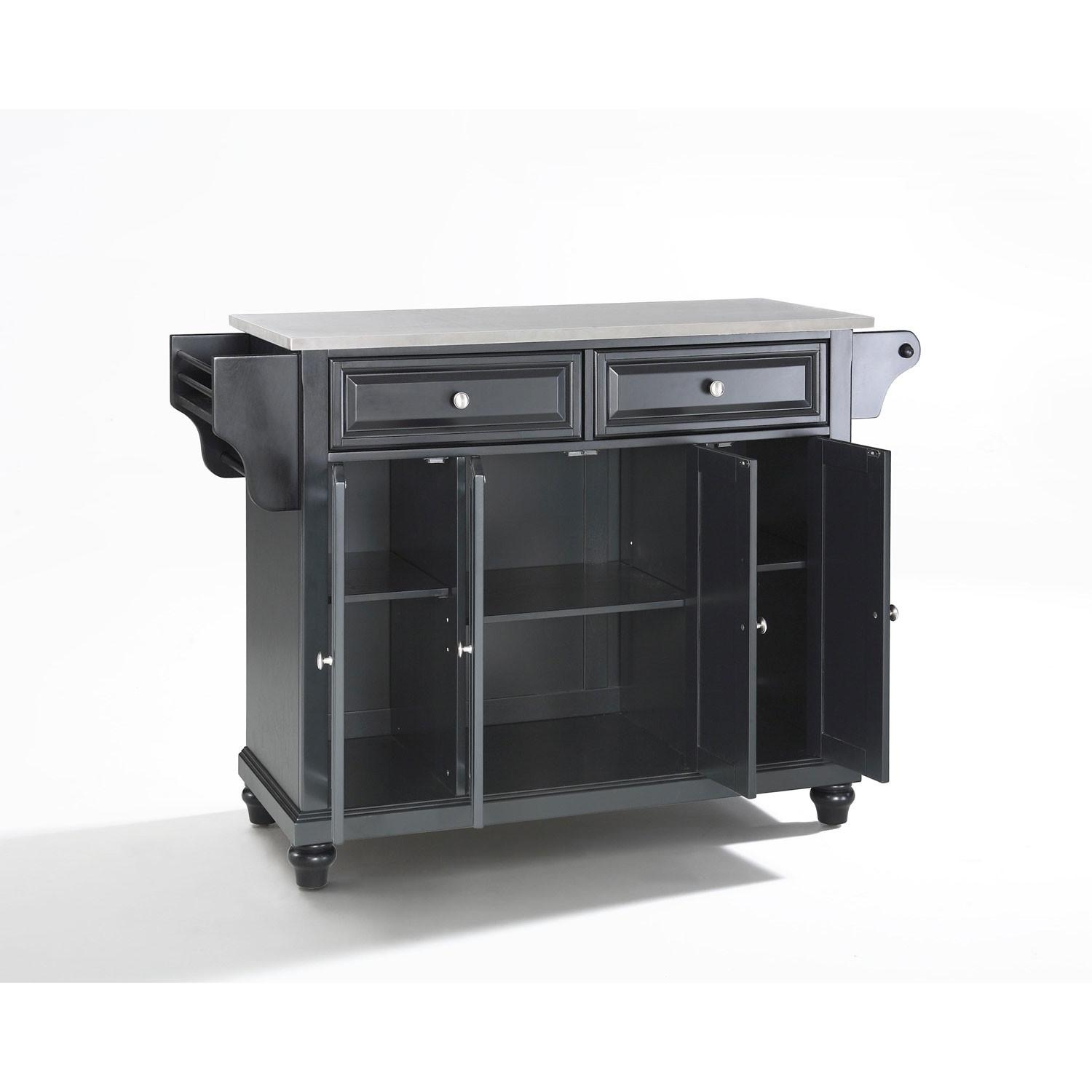 Cambridge Stainless Steel Top Kitchen Island Black