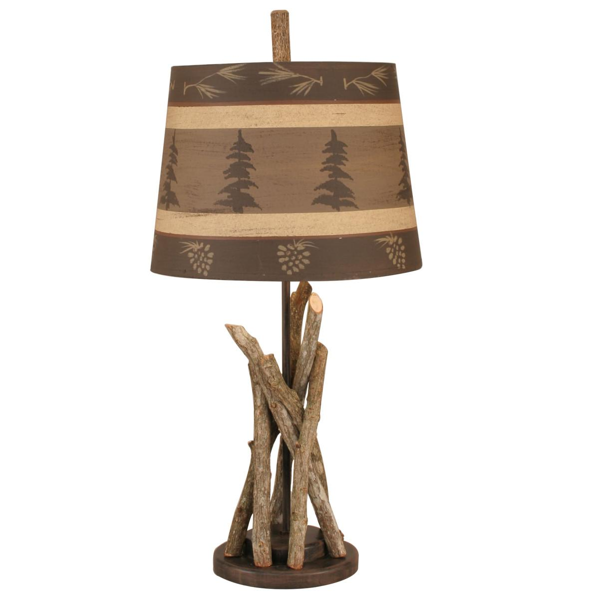 Campfire Accent Lamp Tree Pine Cone Shade