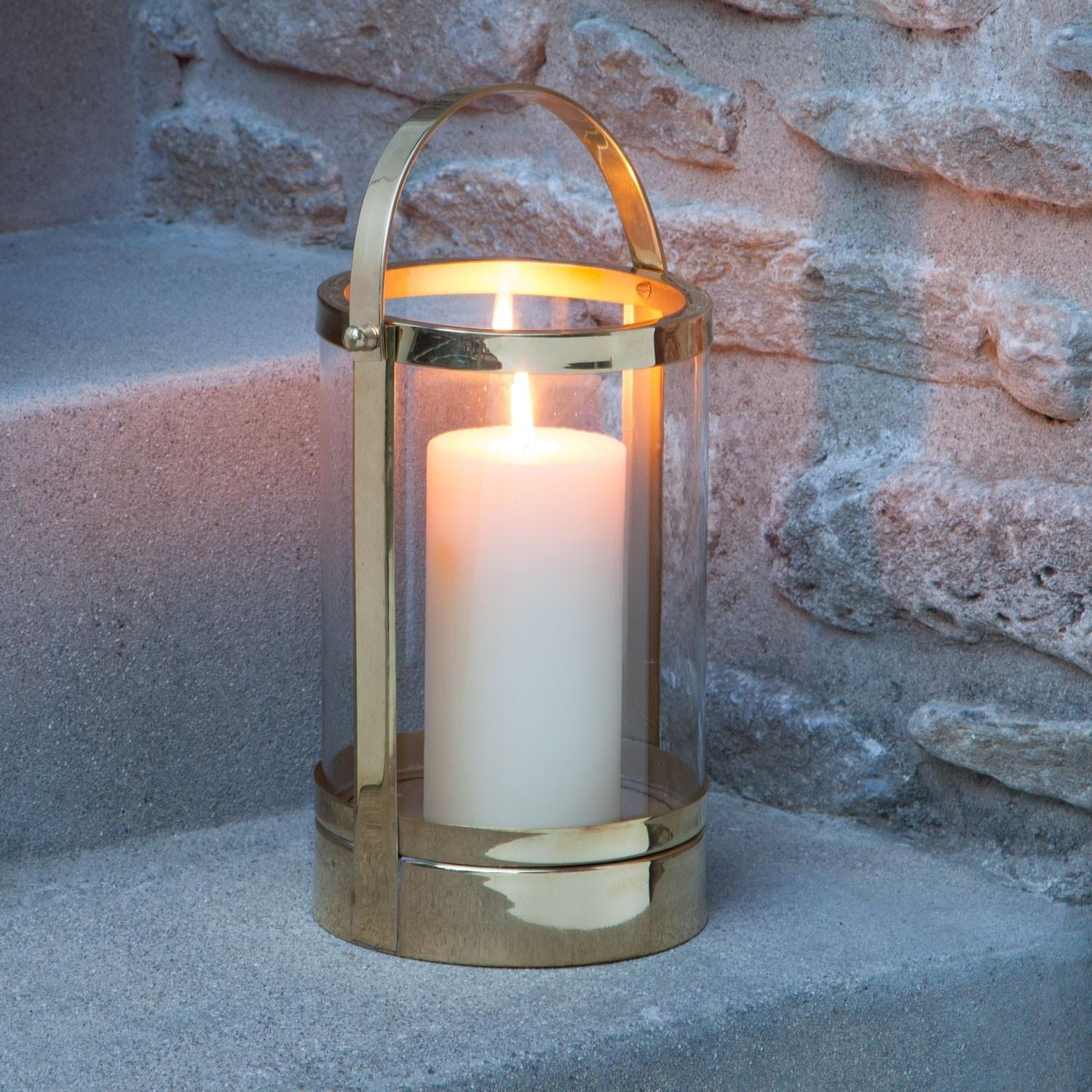 Canal Street Brass Candle Lantern Polished Outdoor