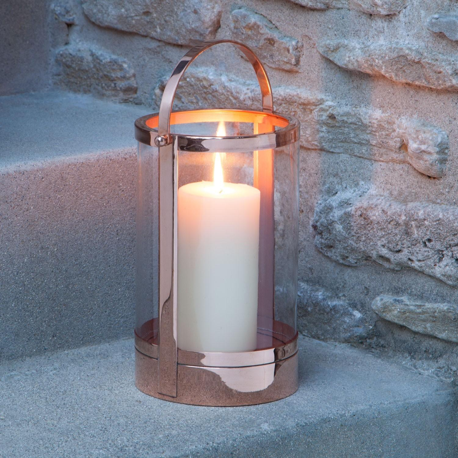Canal Street Copper Candle Lantern Polished Outdoor