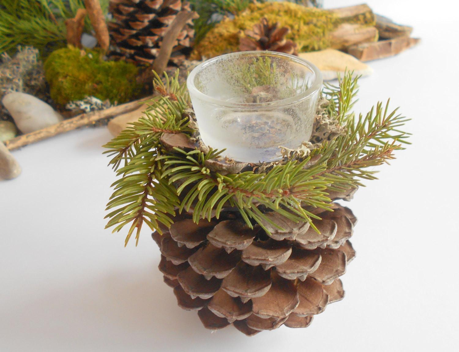 Candle Holder Handmade Pine Cone Natural Exiartsecocrafts