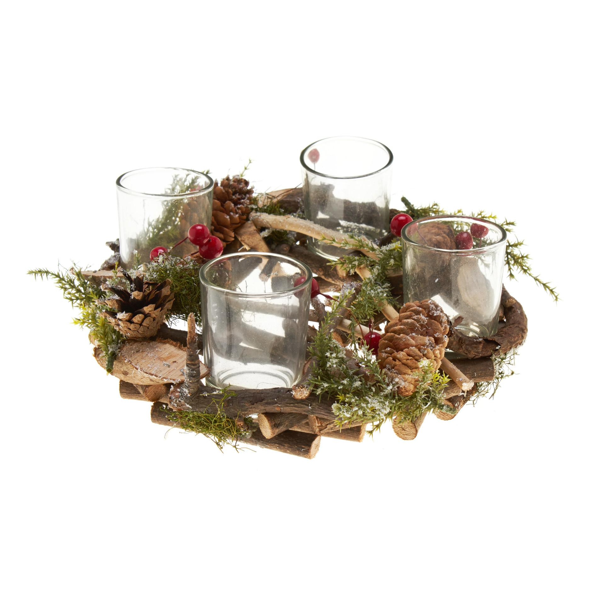 Candle Holder Wreath Pine Cones Branches