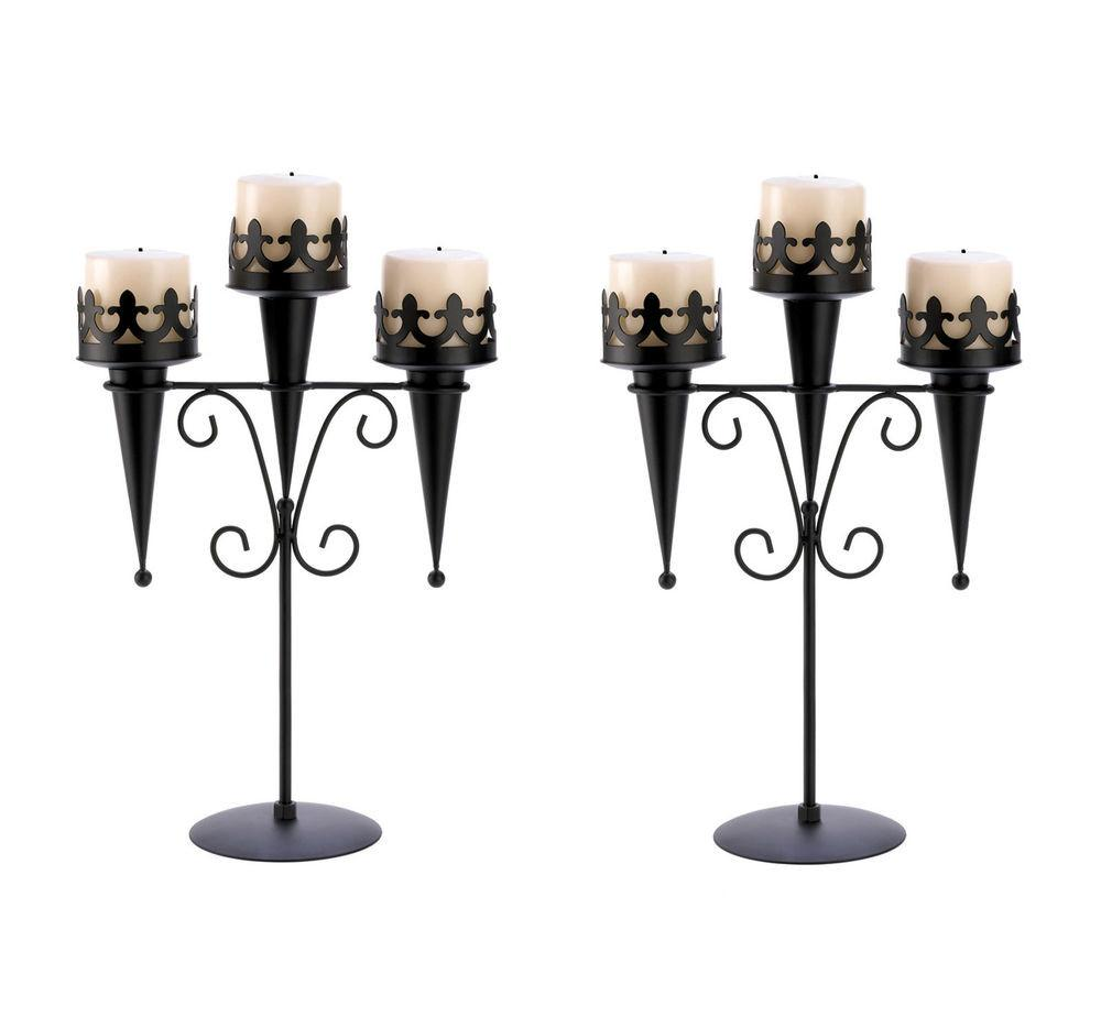 Candle Holders Gothic Black Medieval Triple Pillar