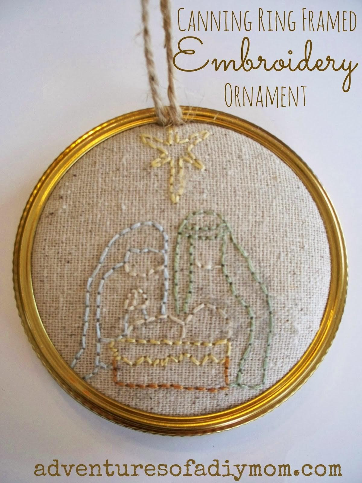 Canning Ring Framed Embroidered Baby Jesus Ornament