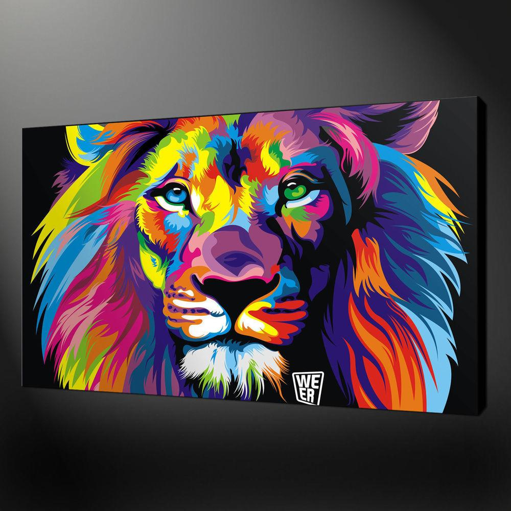 Canvas Print Home Decor Wall Animal Lion Abstract