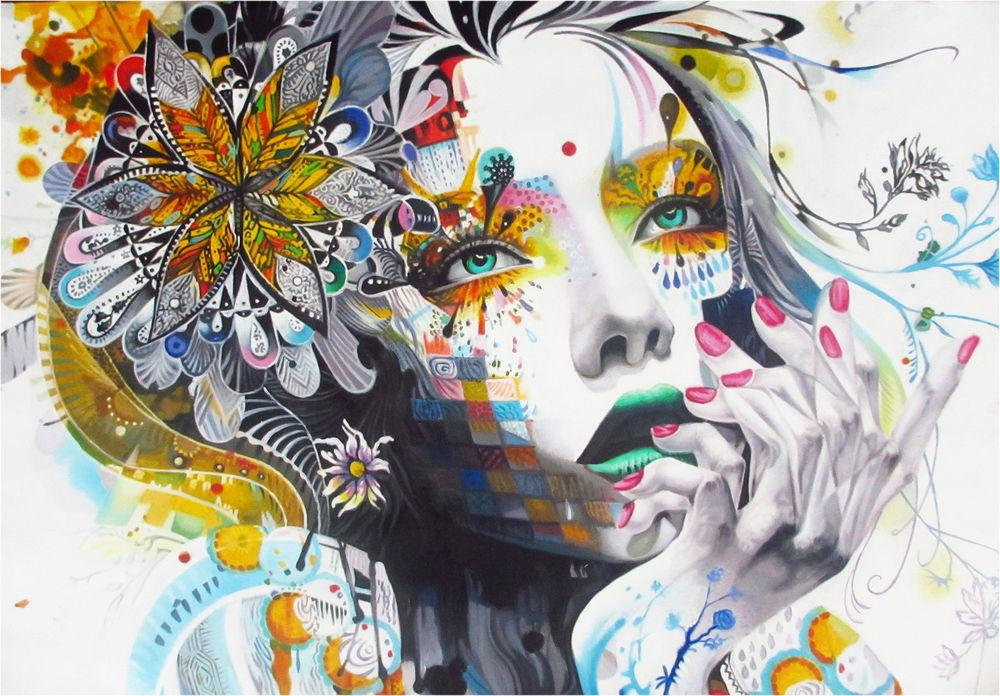 Canvas Print Urban Princess Modern Graffiti