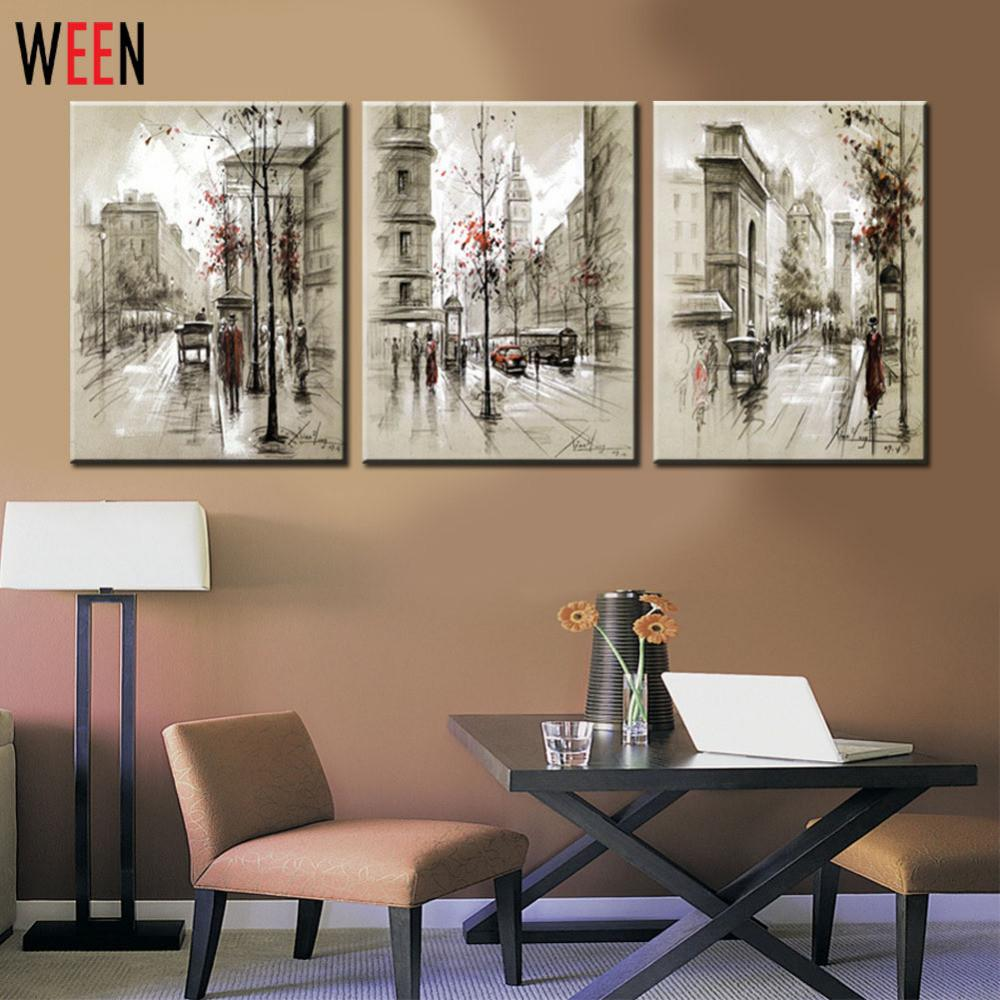 Canvas Printings Retro City Street Landscape Piece