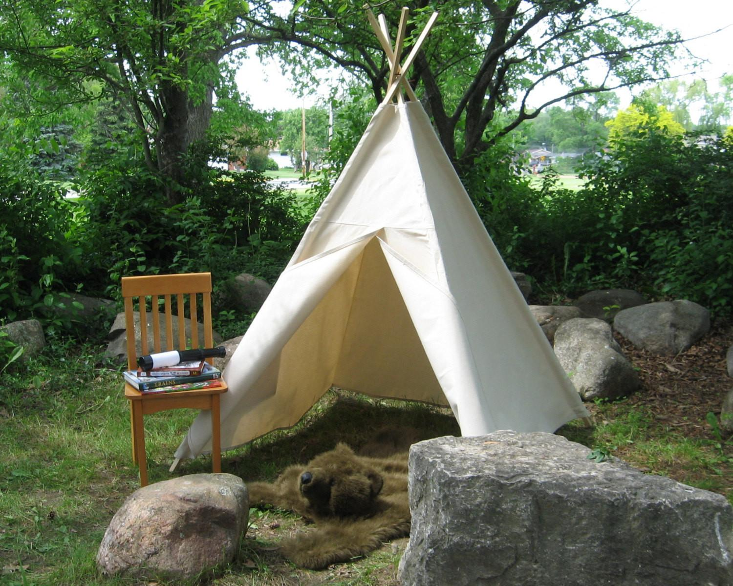 Canvas Teepee Tent Kids Play Color