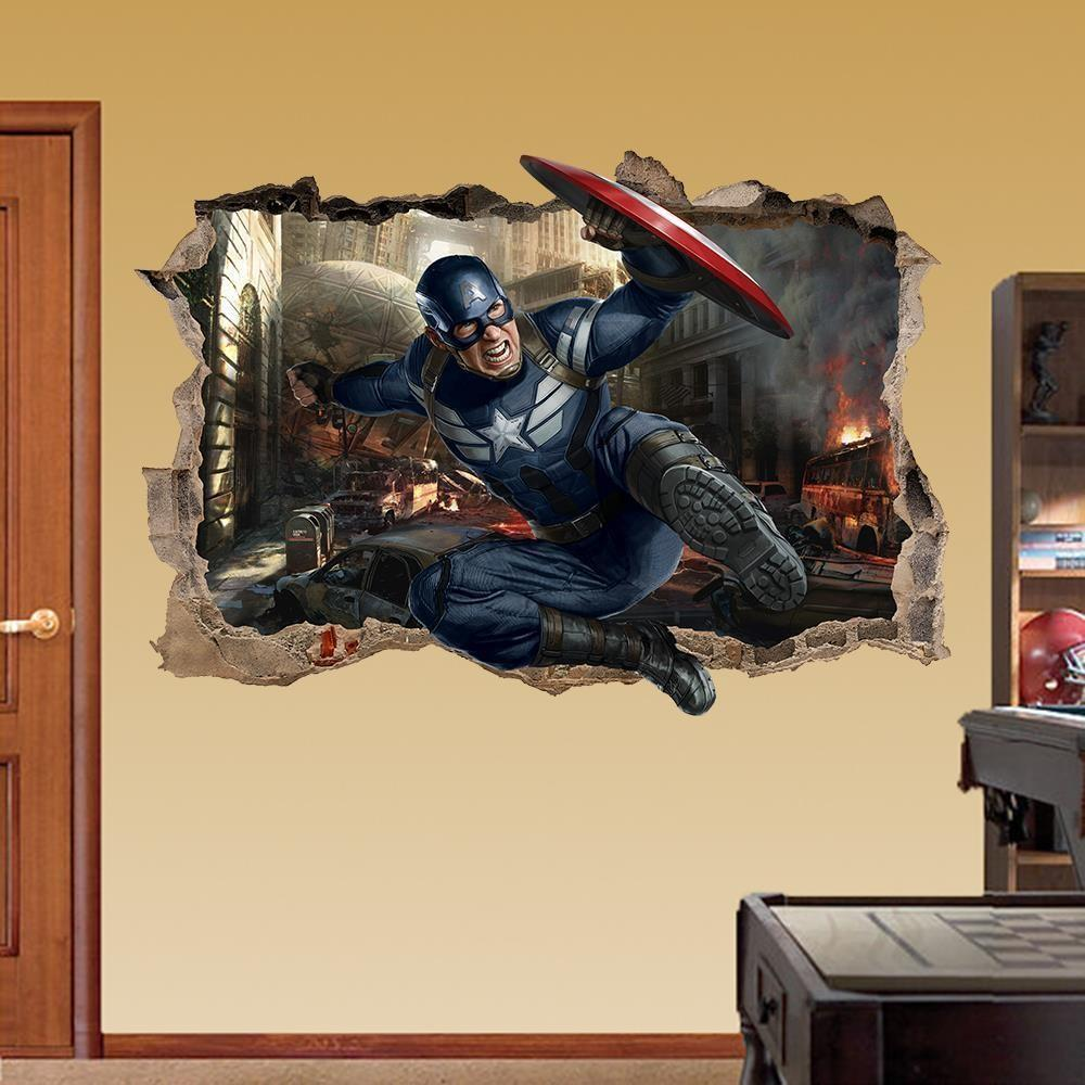 Captain America Wall Sticker Smashed Bedroom Avengers