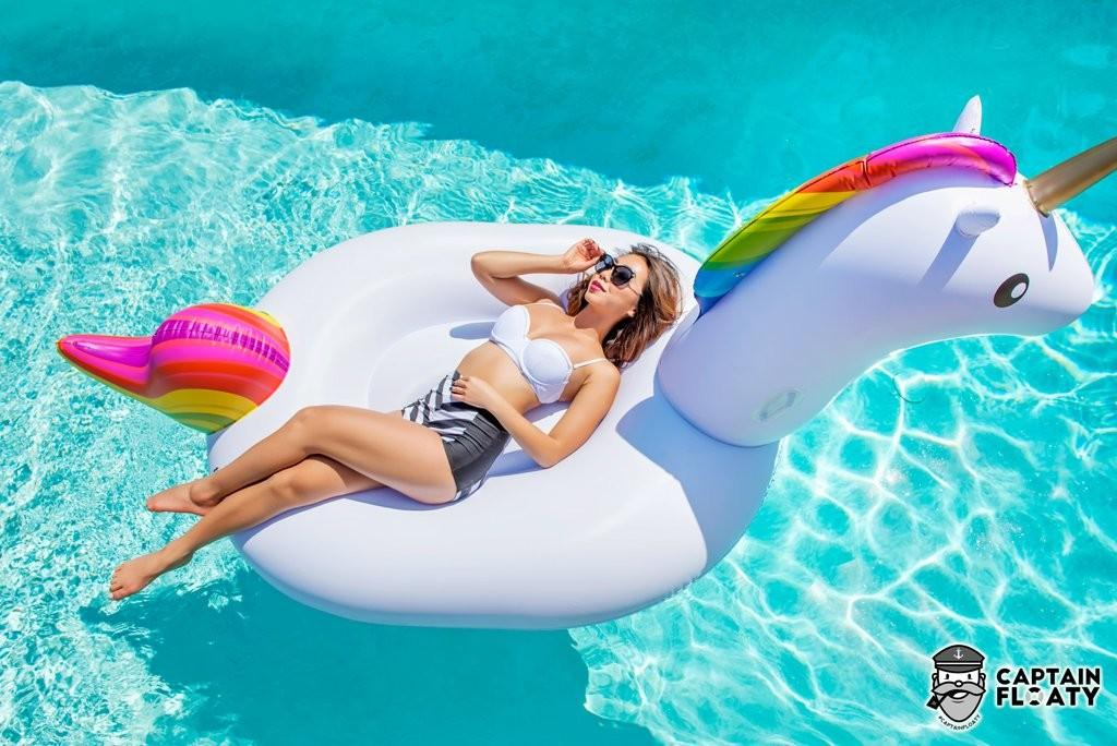 Captain Floaty Giant Unicorn Swimming Pool Float