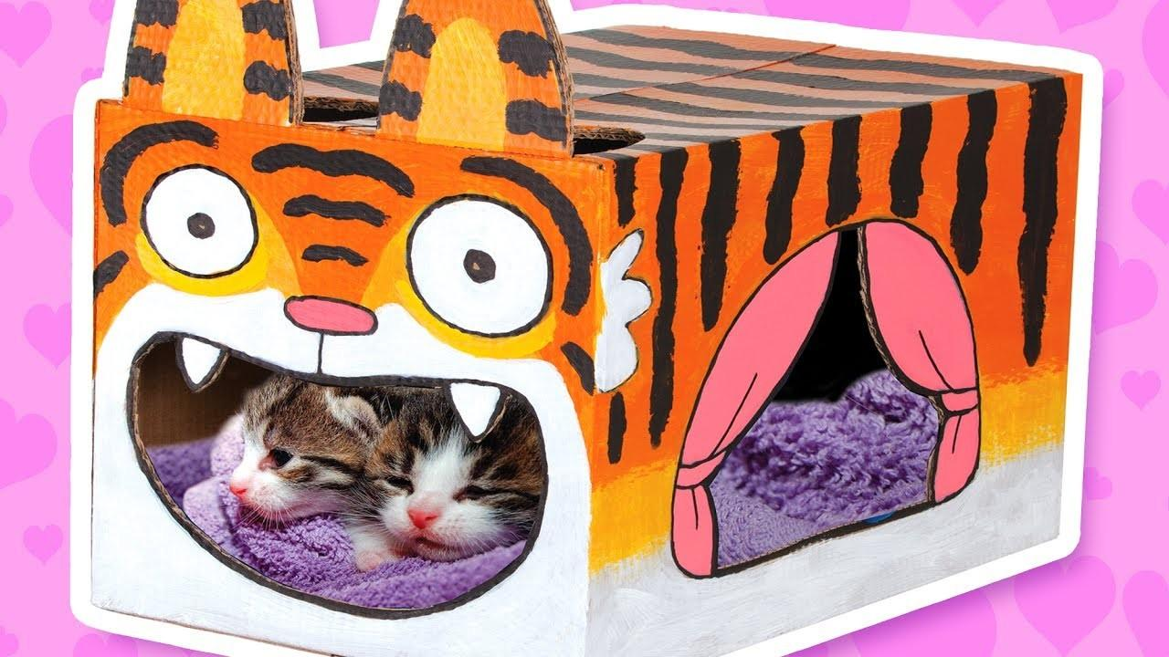 Cardboard Tiger Cat House Crafts Ideas Boxes Diy
