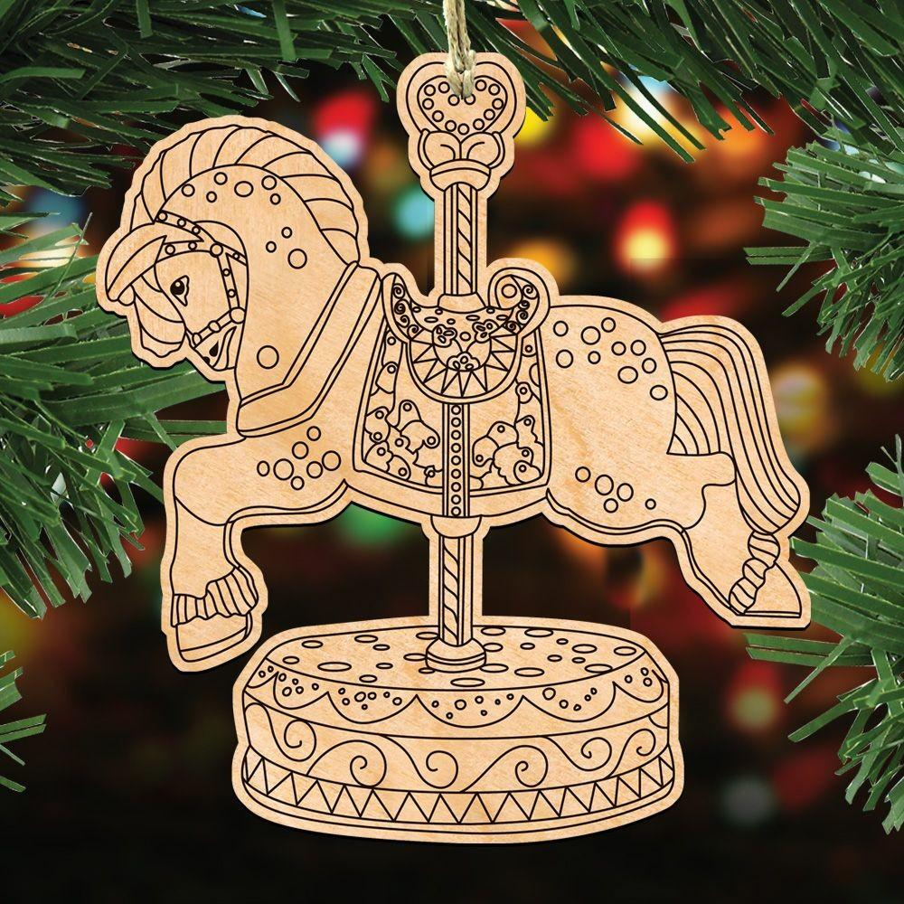 Carousel Horse Diy Coloring Decorative Holiday Ornament