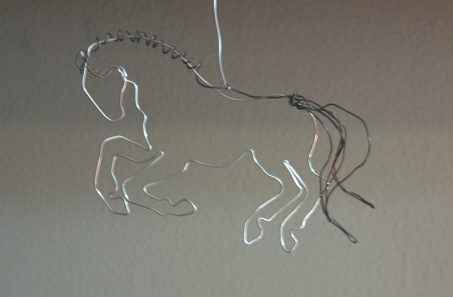Carousel Horse Ornament Hand Made Wire Sculpture Wireknott