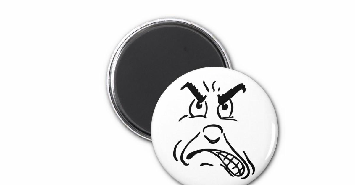Cartoon Angry Face Refrigerator Magnet Zazzle