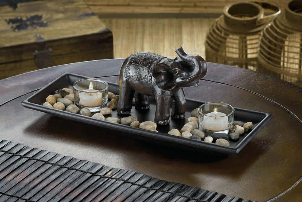 Carved Elephant River Rocks Candle Set Tray African