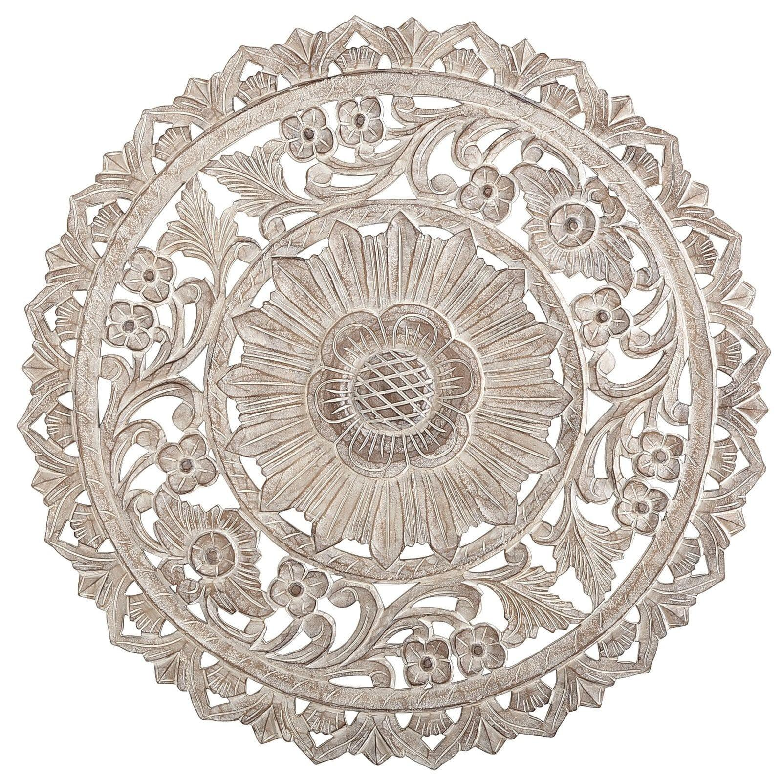 Carved Whitewash Round Wall Decor Pier Imports