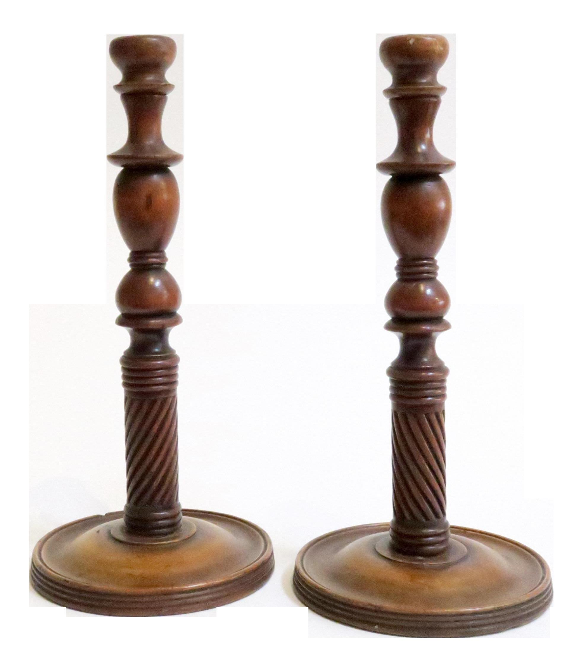 Carved Wood Candle Holders Pair Chairish