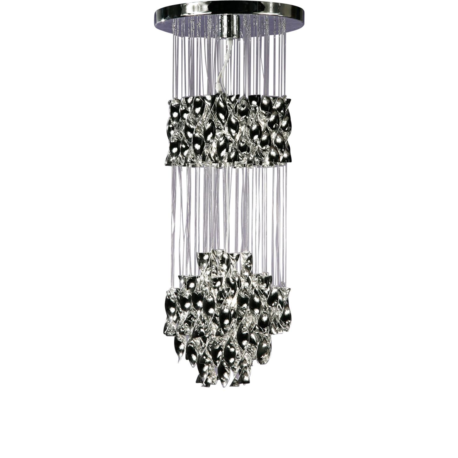 Cascading Ribbon Chandelier Black Silver Achica