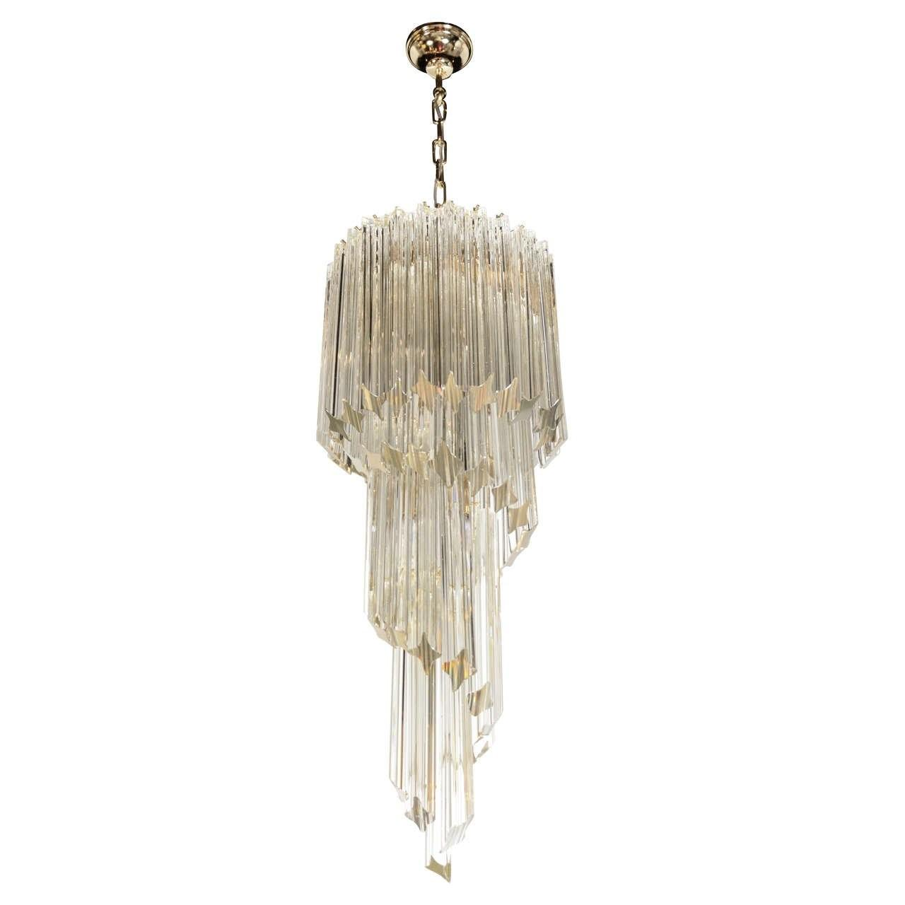 Cascading Spiral Champagne Murano Glass Camer Chandelier