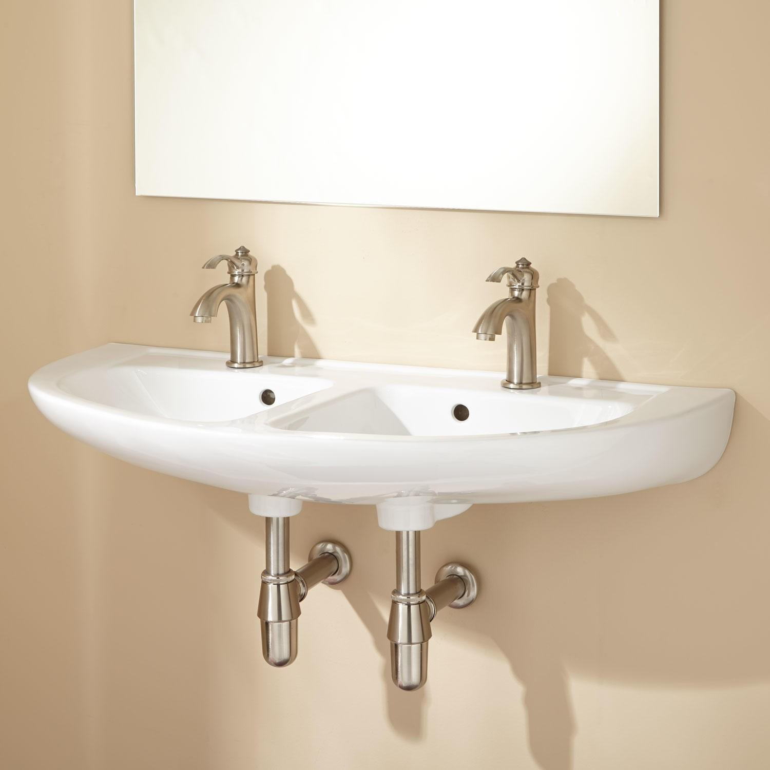 Cassin Double Bowl Porcelain Wall Mount Bathroom Sink