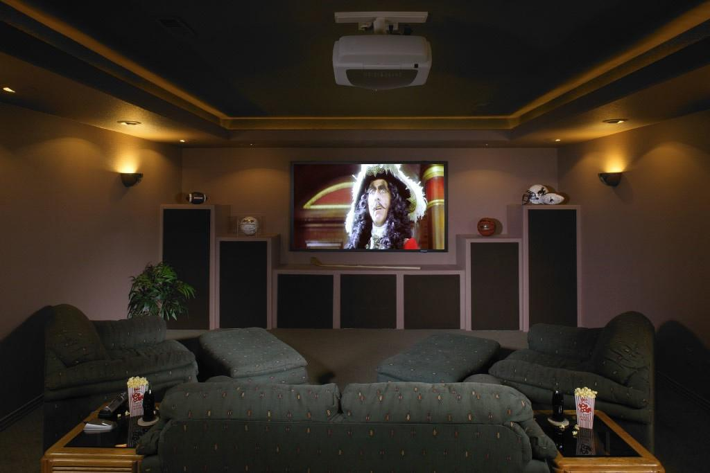 Castle Pines Basement Home Theater Exercise Room