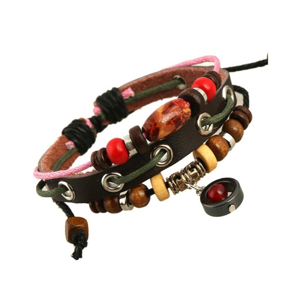 Casual Men Leather Bracelet Beads Charms