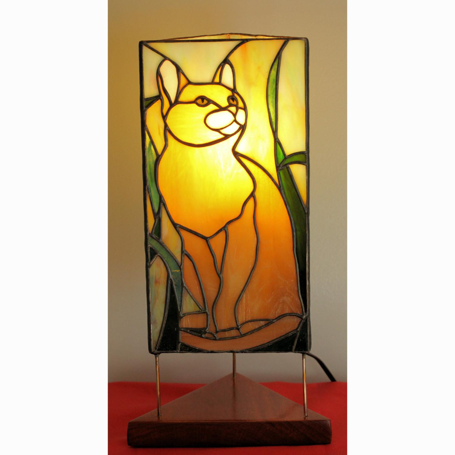 Cat Lover Yellow Orange Tabby Stained Glass Lamp