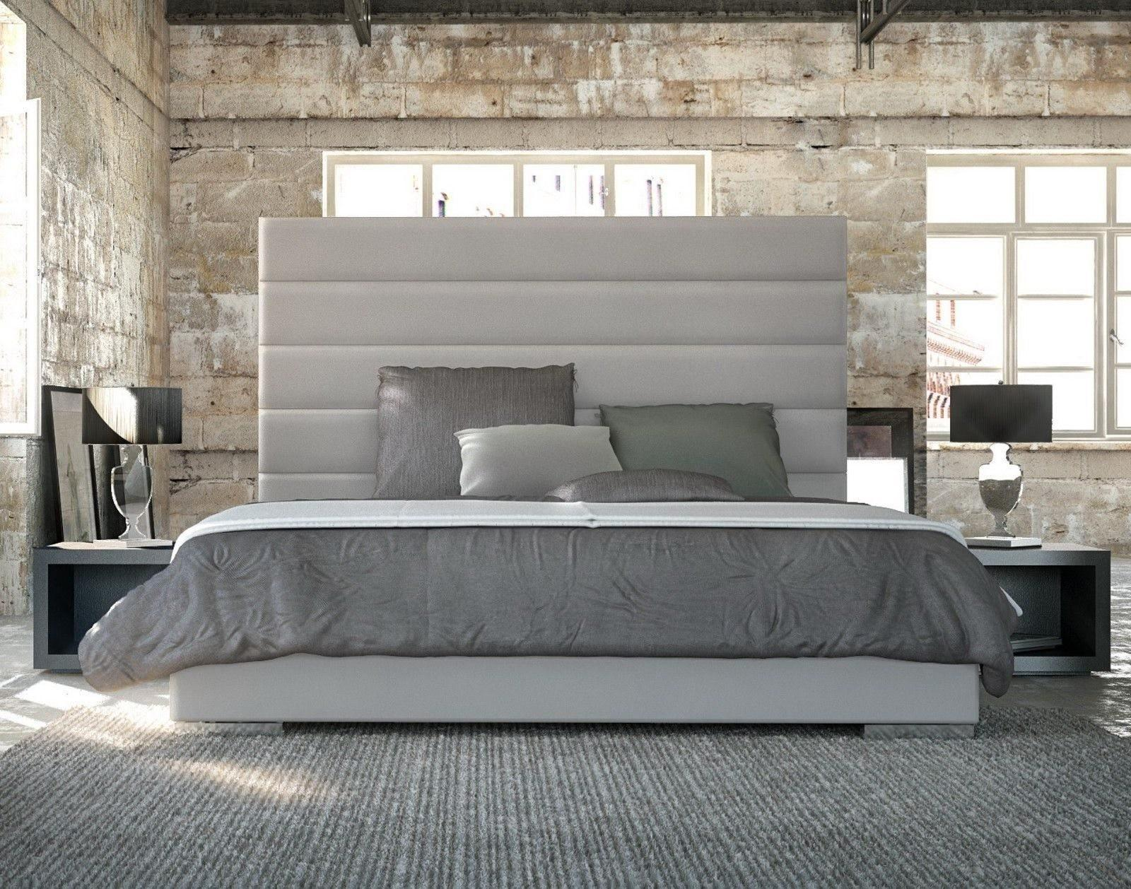 Catchy Logged Pattern Tall Upholstered Headboard White