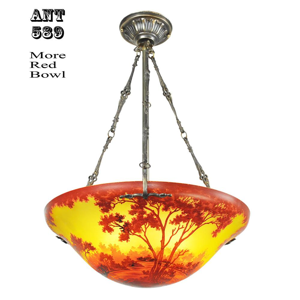 Ceiling Bowl Chandeliers Handmade Scenic Landscape Cameo