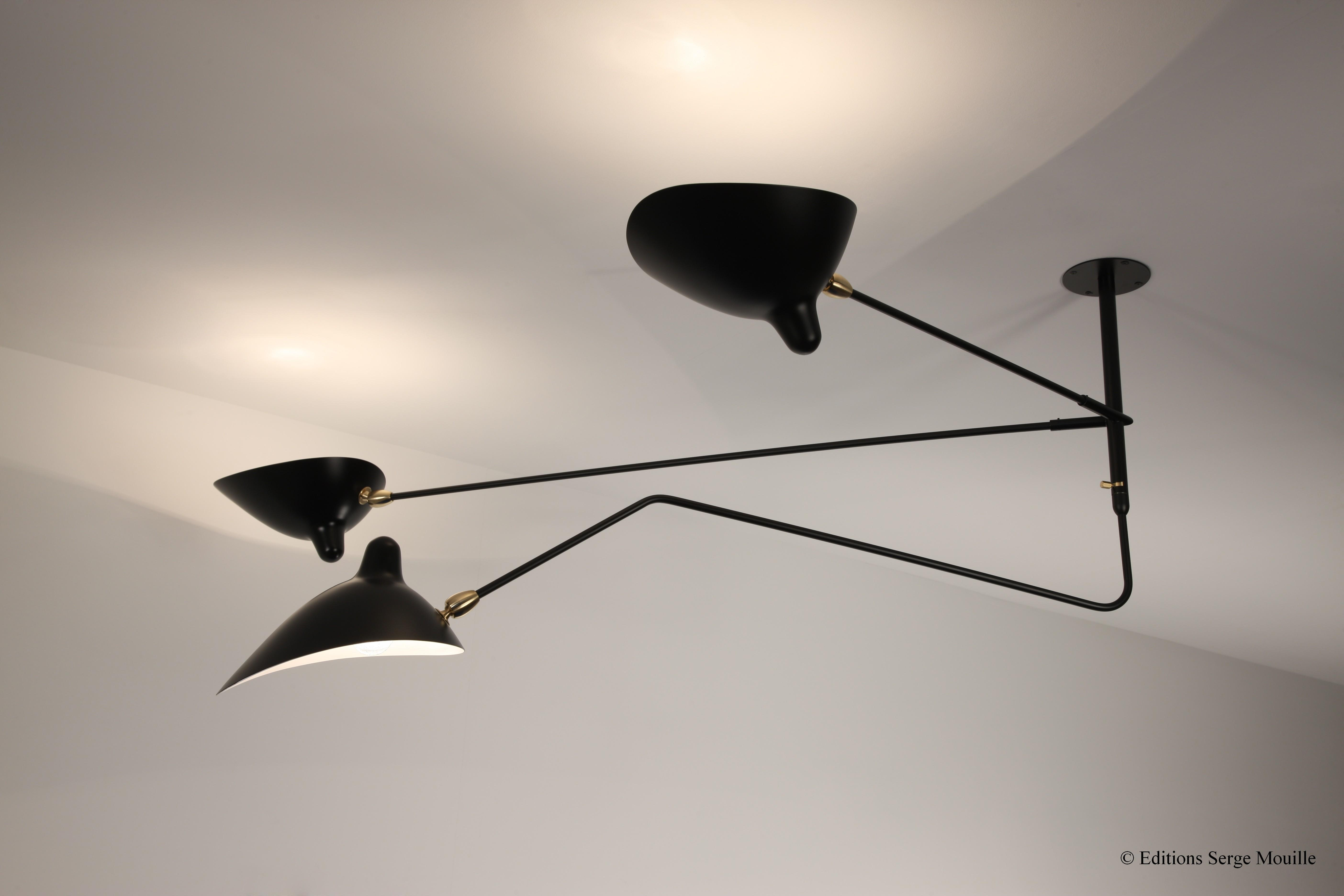Ceiling Lamp Fixed Arms Rotating Curved Arm