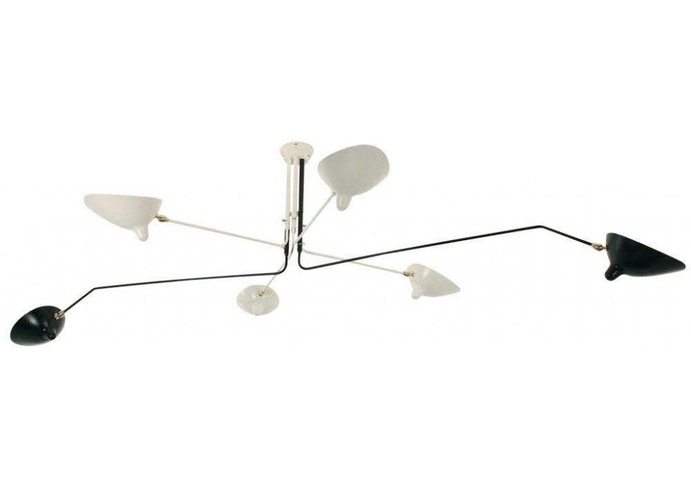 Ceiling Lamp Rotating Arms Black White Serge Mouille
