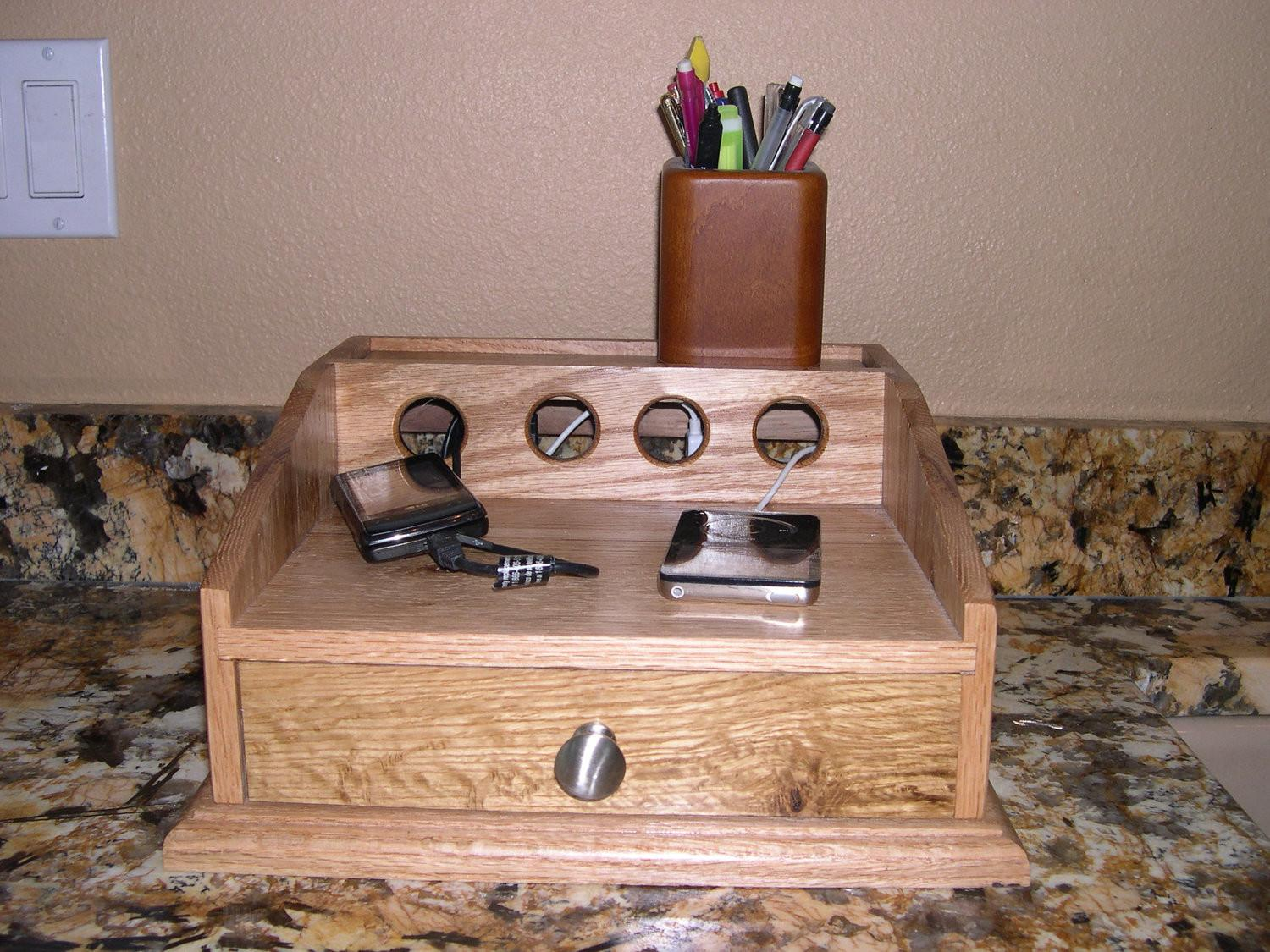 Cell Phone Charging Station Oak