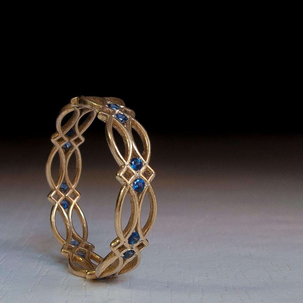 Celtic Ring Eternity Sapphire Blue Stones