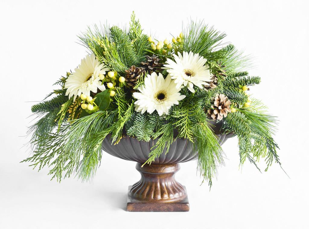 Centerpiece Pine Cones Green Branches White Floral