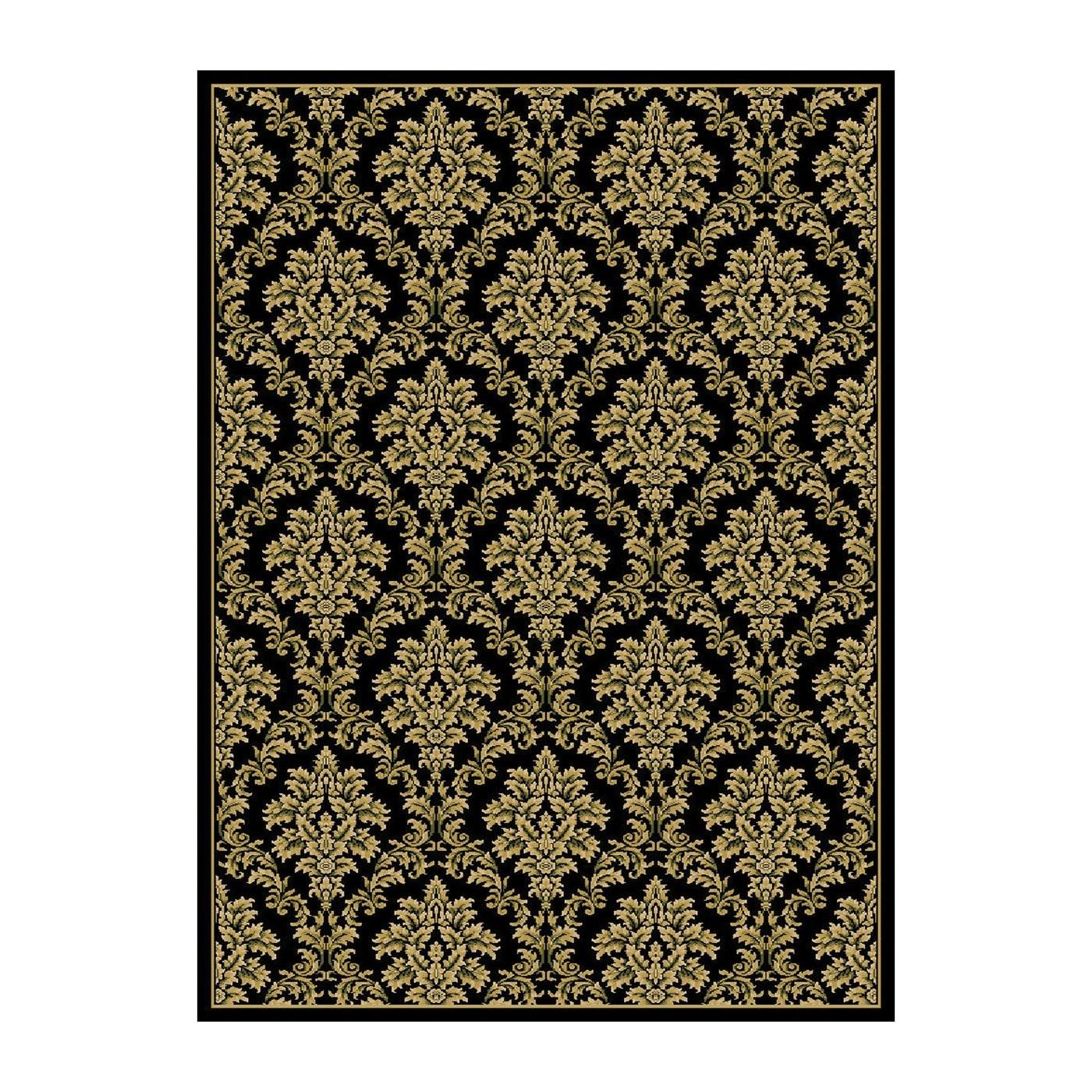 Central Oriental 8355bk4p Damask Area Rug Black