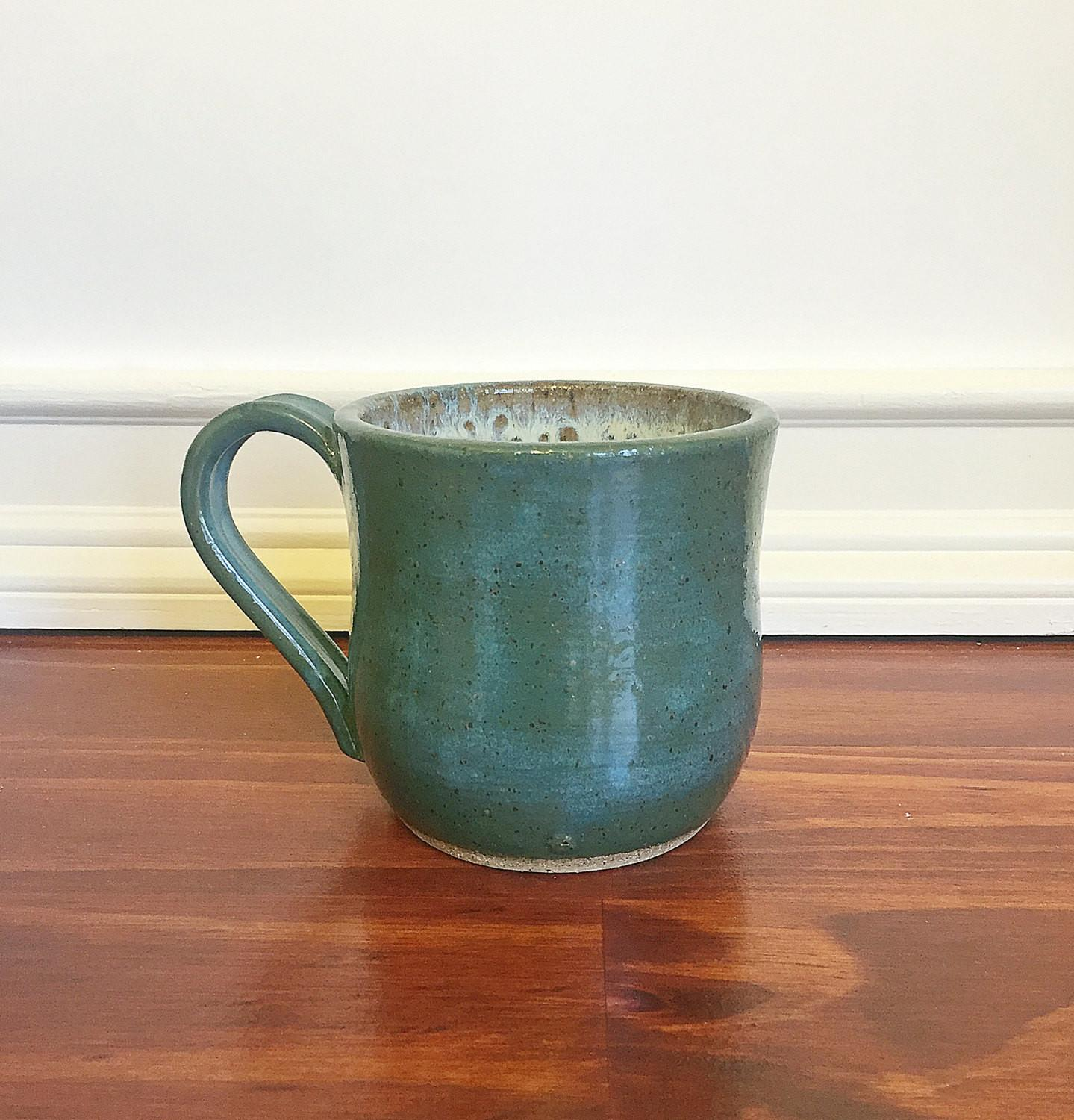 Ceramic Coffee Mug Handmade Pottery Green Ready