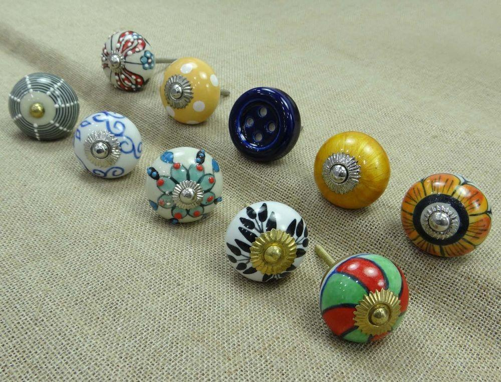 Ceramic Drawer Pull Furniture Knob Lot Pcs Hand