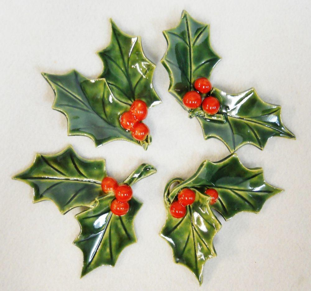 Ceramic Holly Leaf Berry Sprig Green Red Holiday