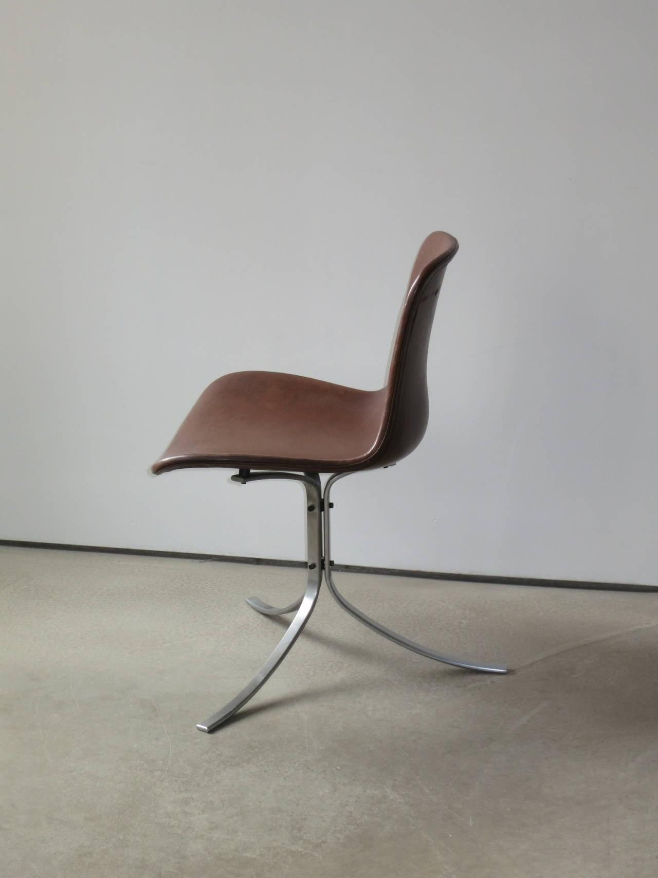Chair Poul Rholm Patinated Brown Leather