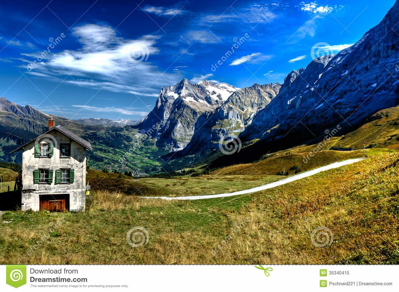 Chalet Swiss Alps Stock Nature