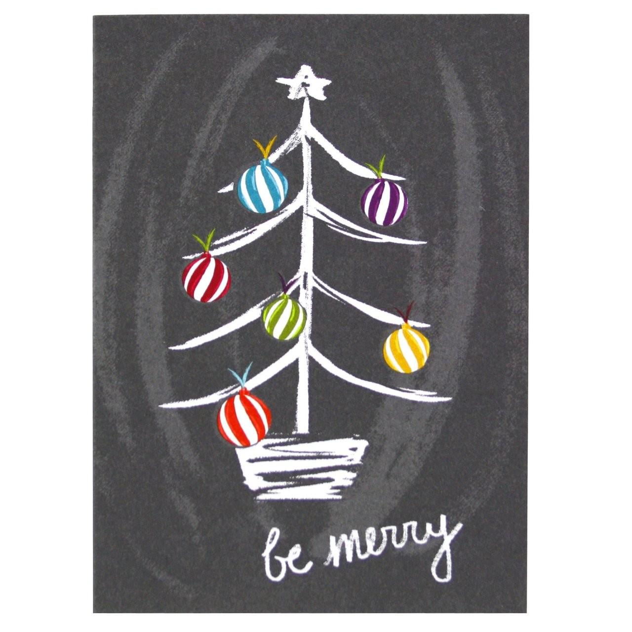 Chalkboard Christmas Tree Card Merry Cards