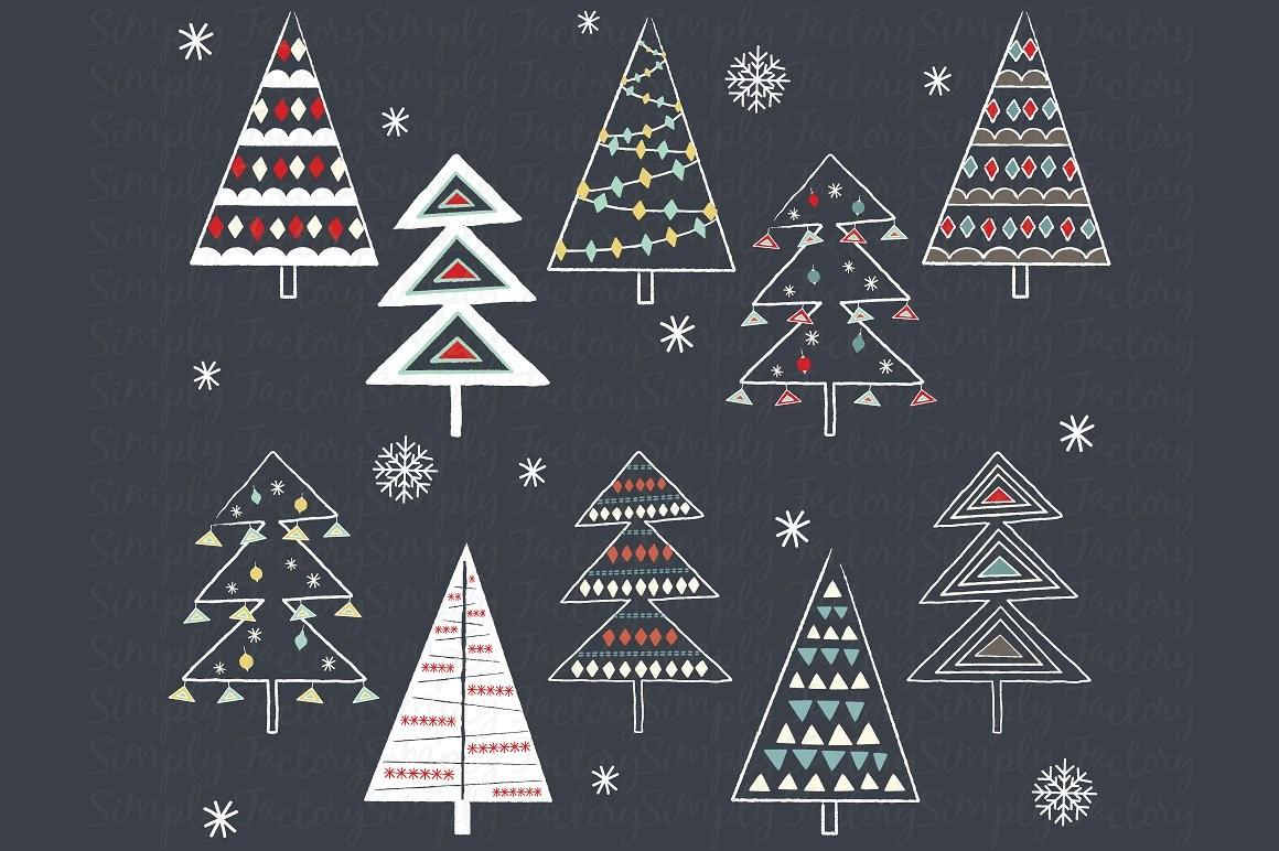 Chalkboard Christmas Tree Collection Illustrations